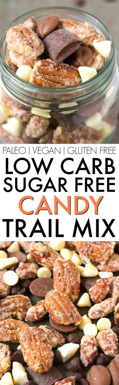 Low Carb Sugar Free Candy Trail Mix (V, GF, Paleo)- A guilt-free trail mix LOADED with all the good stuff- Chocolate chips, chunks, candied nuts and NO boring bits- Perfect for snacking, gifts, DIY, holidays and more! {vegan, gluten free, paleo recipe}- thebigmansworld.com