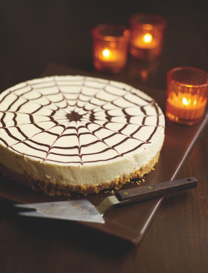 Halloween spiderweb cheesecake recipe | Life and style | guardian.co.uk (Very pretty, but no gelatine for me...)