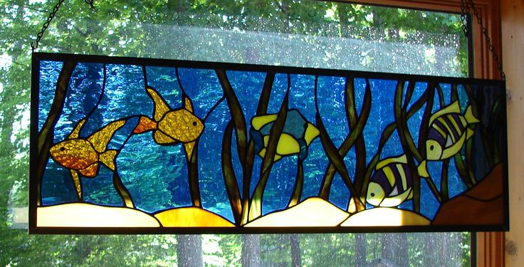 stained+glass+panels   Tropical Fish stained glass panel transom by NatureWalkGlass