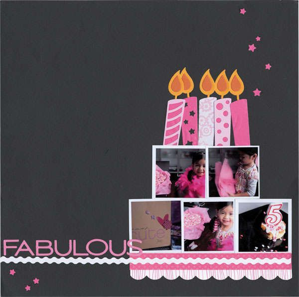 Birthday page scrapbook layout I picture a complementary page with one large 8x10 photo matted in one of the pink pattern papers. LOVE!!