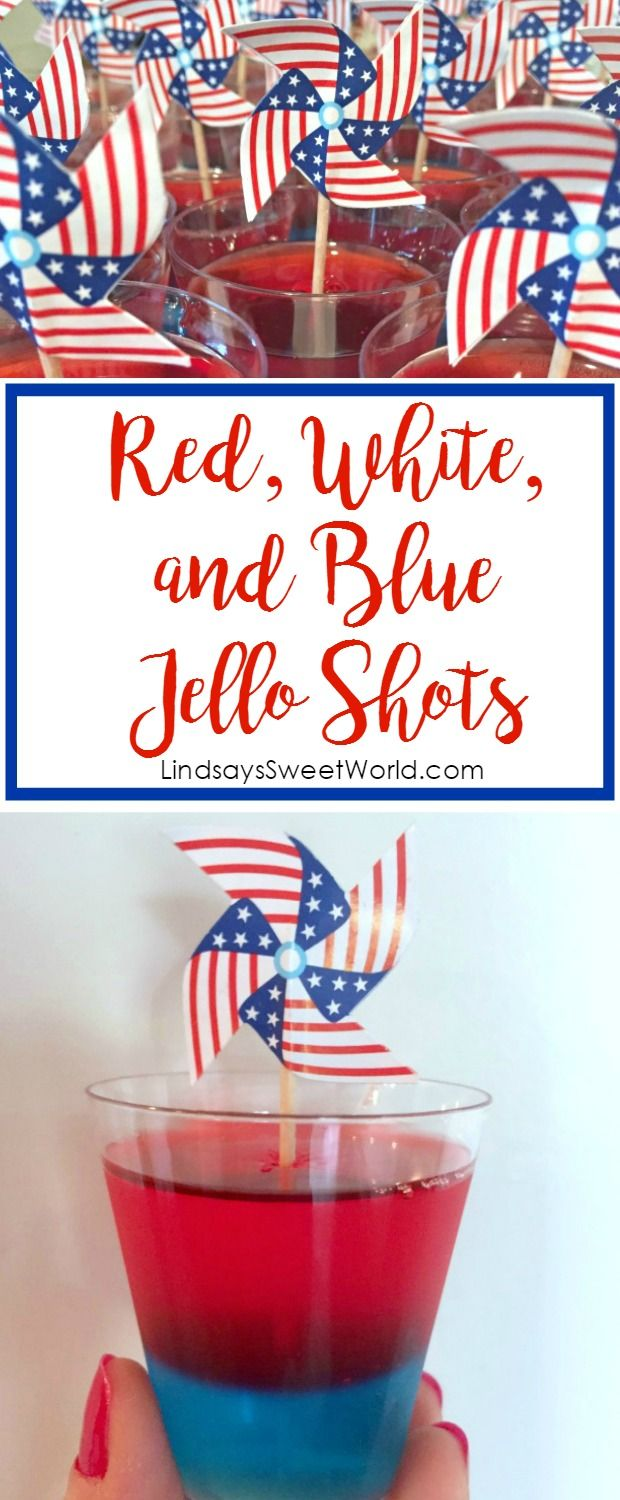 Red, White, and Blue Jello Shots - recipe for Patriotic holidays like Fourth of July/Independence Day and Memorial Day!