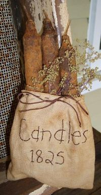 Grungy Cinnamon Candles in a Tea-Dyed Fabric Sack