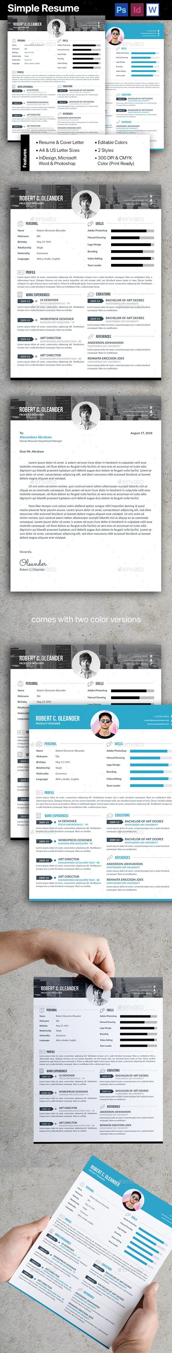 Resume/CV by atsar Features:Resume & Cover Letter InDesign INDD (For CS6 and later) Adobe Photoshop (For CS6 and later) Microsoft Word DOCX Comes in