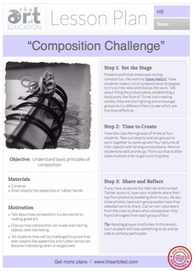 Composition Challenge: Free Lesson Plan Download / adapt accordingly