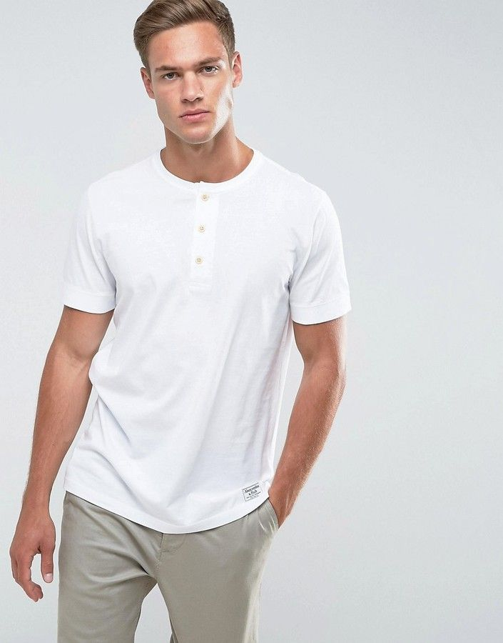 Abercrombie & Fitch Henley T-Shirt Slim Fit Garment Dye in White