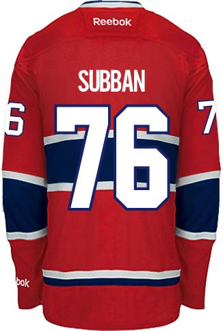 Montreal Canadiens P.K. SUBBAN #76 *A* Official Home Reebok Premier Replica NHL Hockey Jersey (HAND SEWN CUSTOMIZATION)