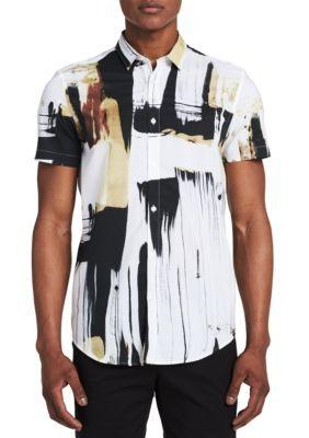 Calvin Klein Men's Short Sleeve Hand Painted Print Shirt - Raw Sugar - Xl