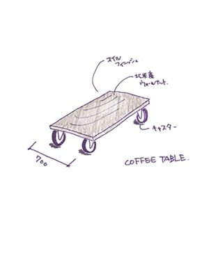 coffee table のスケッチ