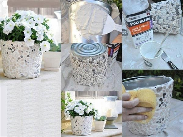 handcrafted tin flower basket