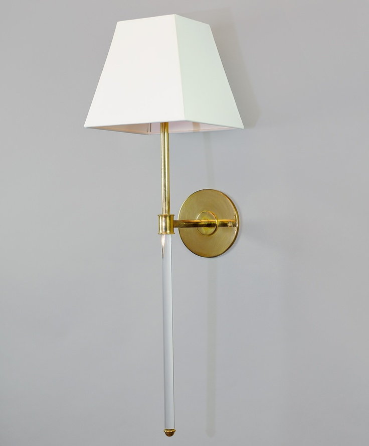 Brass Wall Sconces Electric : Melissa Quartz sconce with lucite and brass... My future bathroom sconces :) Lighting ...