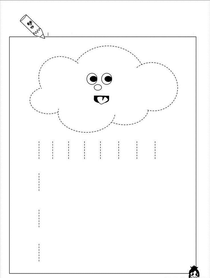 rain trace line worksheet learn pinterest kid for kids and rain. Black Bedroom Furniture Sets. Home Design Ideas