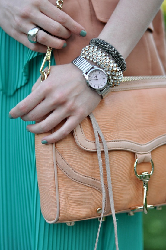 #Silver arm #candy #timex with pastel #peach bag