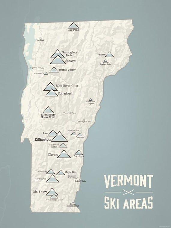 Vermont Ski Resort Map : vermont, resort, Vermont, Resorts, 18x24, Poster, Resorts,, Resort,, Skiing