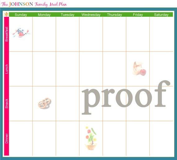 family meal planning calendar