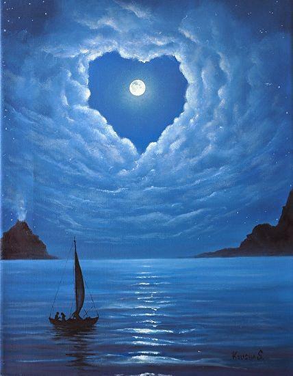 Love in the air by Ksusha Scott Oil ~  x Night clouds Moon Love Romance