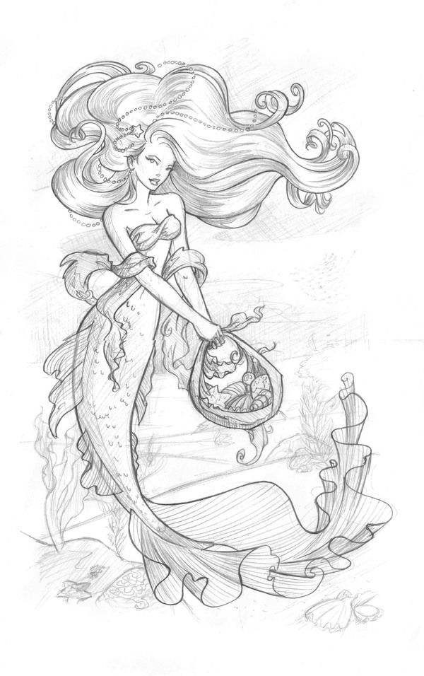 mermaid drawings ideas