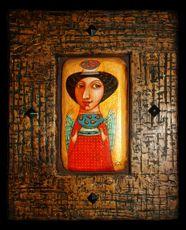Картина Дары, Работа Николаева, Готический наив, Деревянная картина, Авторское изделие, единственный экземпляр, Современная картина
