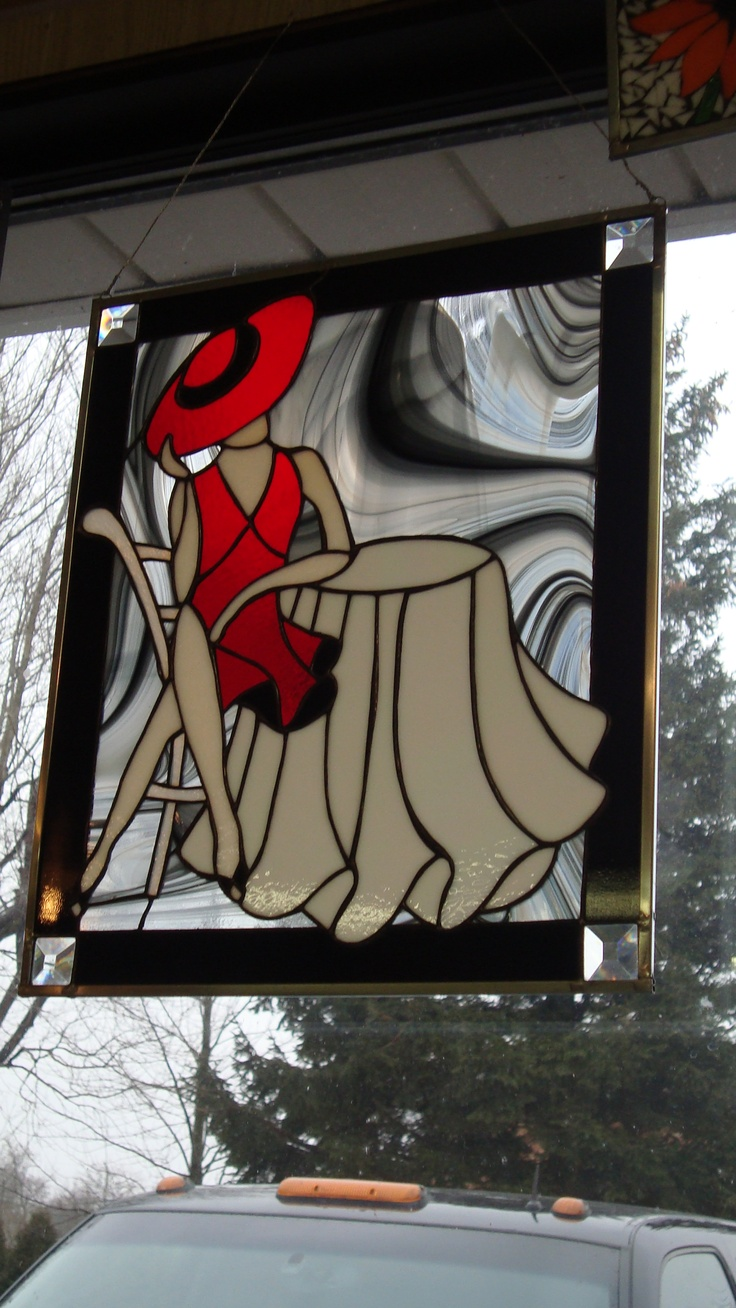 My latest stain glass.  Lady in red.
