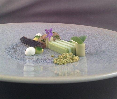 Marbré van komkommer en geitenkaas met makreel