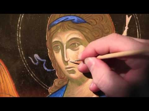 Step 4: How to paint an icon: Enlivening Lines - area of most intense light. - YouTube