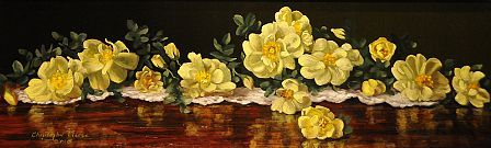 Christopher Pierce, Yellow Roses, 2013, oil on canvas, 8 X 24 inches