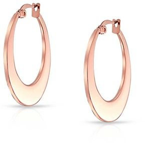 Bling Jewelry Flat Hoop Rose Gold Plated Stainless Steel Earrings.