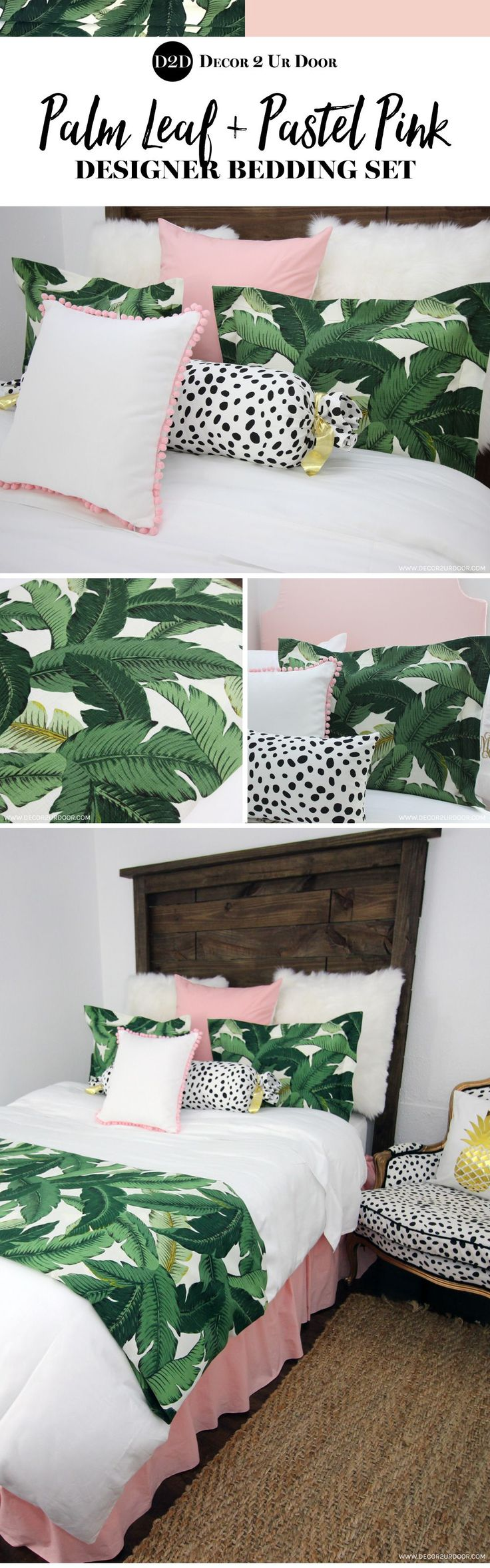 Pink and palm leaf bedding. Perfectly pretty in Palm Beach Pink. Our brand-new and exclusive Palm Leaf and Pink bedding set will be sure to make all of your friends swoon. Featuring the season's hottest palm leaf print paired with textured furs, Dalmatian print, and soft pink to create the prefect trendy room. Add a pop of gold for a bit of glitz and glam.