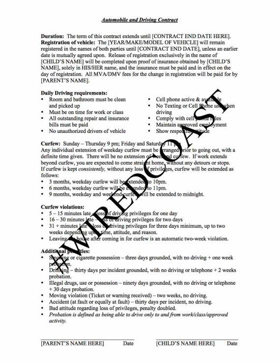 Teen Auto Driving Contract Parenting Help, Teen Driving, Rules and  Consequences, Printable, Download