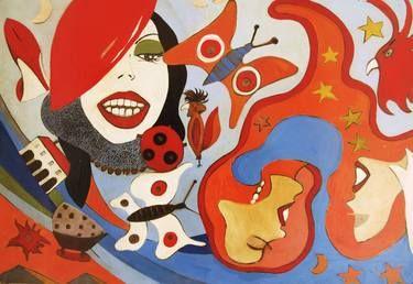 """Saatchi Art Artist Roberto Corso; Painting, """"DONNE E FARFALLE"""" #art"""