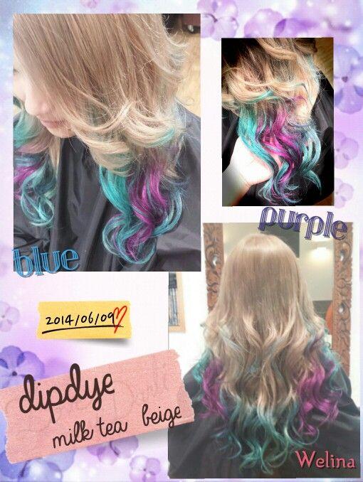 #dipdye#Haircolor#hairstyles#milktea#brond#blue#Purple#extension#ヘアカラー#ディップダイ#青#紫#ミルクティー#ブロンド#エクステ#Hairsalon#Welina#hitomiyanagida