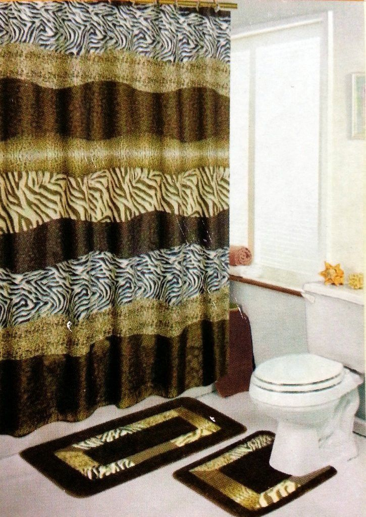 Safari brown 15 piece bathroom accessory set 2 bath rugs for Matching bathroom accessories sets