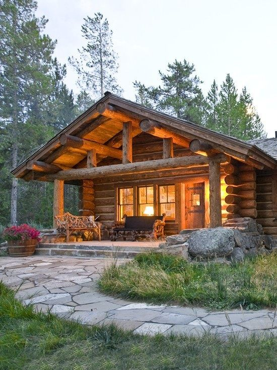 Log cabin in the woods...nice, if the lawn was mowed.