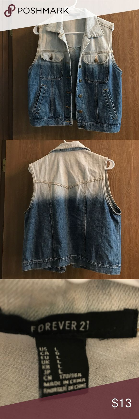 Blue jean vest Blue Jean vest in large from forever 21. Forever 21 Tops Button Down Shirts