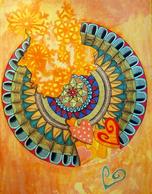 Mandala. Markers on top of acrylic paint.