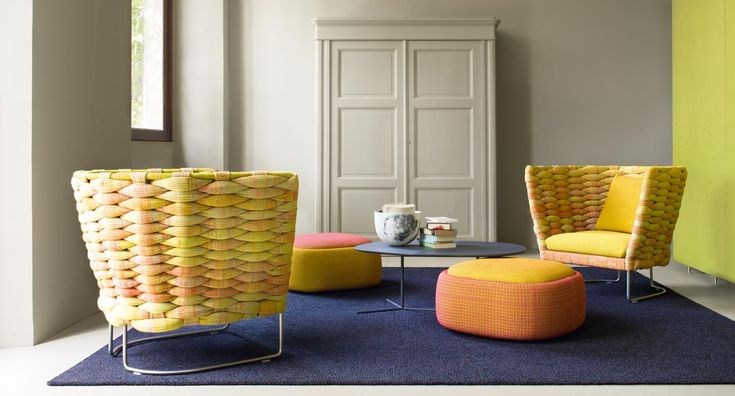 Smile - Pouf-container. The Smile series also includes an armchair and a two-seats sofa.