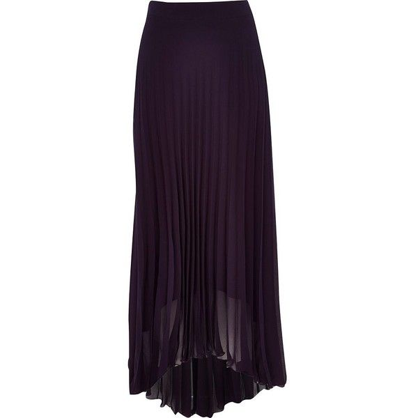 River Island Purple sheer pleated maxi skirt (17 CAD) ❤ liked on Polyvore featuring skirts, sale, ankle length skirt, purple maxi skirt, sheer pleated maxi skirt, long pleated skirt and long purple skirt