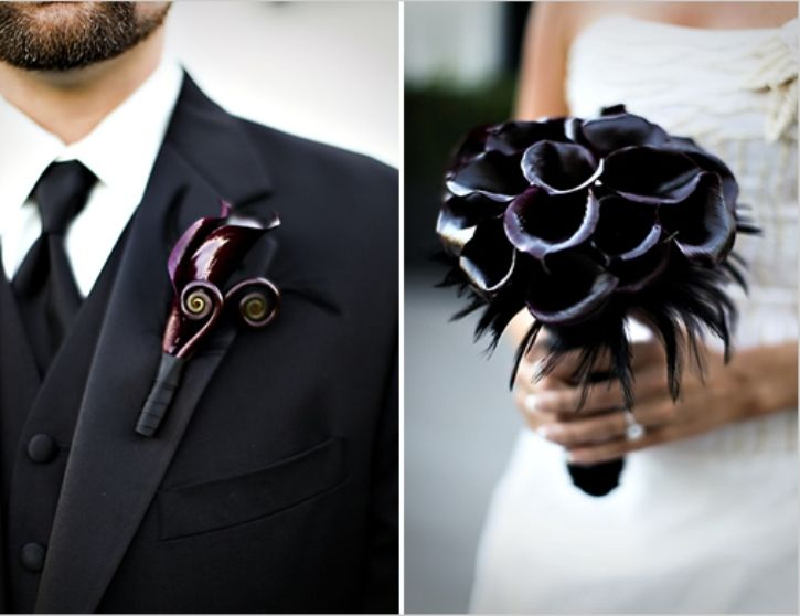elegance with an attitude:  black-calla-lily-bridal-bouquet-and-boutonnierge