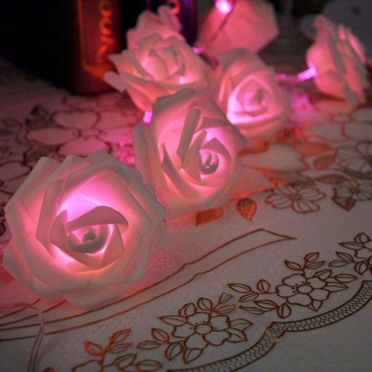 20led rose flower fairy string lights wedding garden party christmas decoration night light bedroom lamp