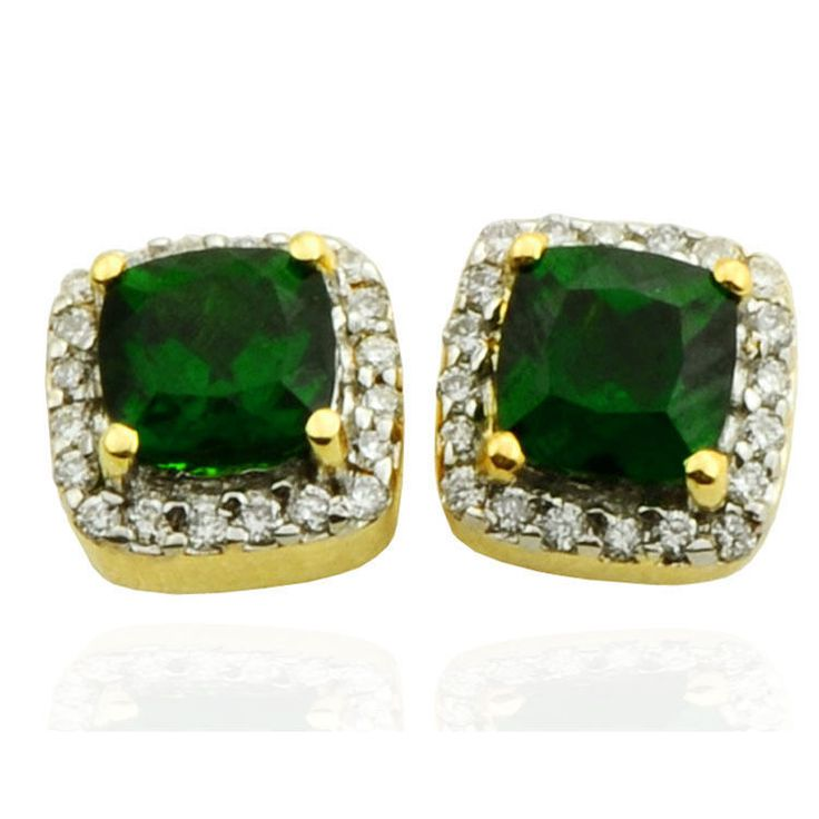 CHROME DIOPSIDE 1.00 CT GEMSTONE DIAMOND EARRINGS IN 9KT SOLID YELLOW GOLD