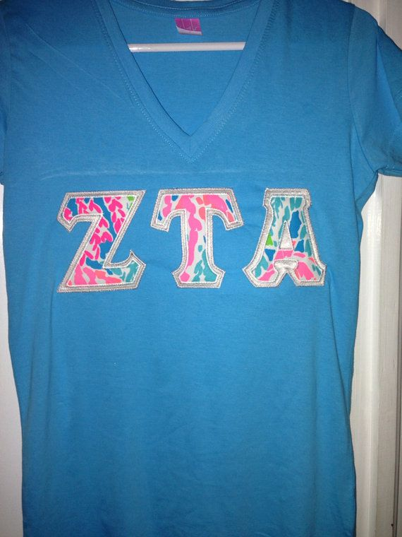 Vneck sorority letter shirt with new Lilly by PersonalizedSunshine, $32.99