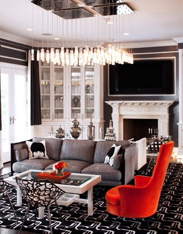 Max and Lubov Azria's Expansive Los Angeles Home #fashionablelife #interiordesign #decor #homeideas #maxazria: Hanging Lights, Living Rooms, Azria Houses, Lights Fixtures, Maxazria, Interiors Design, Max Azria, Design Home, Lubov Azria
