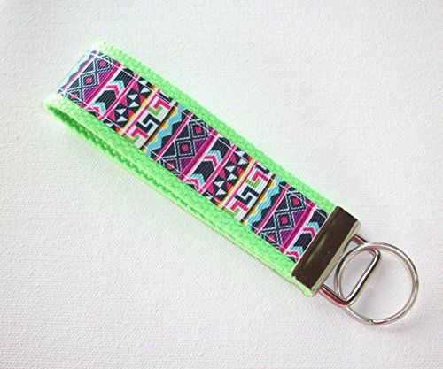 "Key FOB / Key Chain / Wristlet - boho stripes on neon green - teachers gift coworker bridesmaids. Always looking for your keys? Keep them right on your wrist with our fashionable Key Fobs! We use 100% cotton webbing and grosgrain ribbon This key fob is approximately - 1.25"" wide x 5"" long. The split ring holds a lot of keys. each order is ""made to order"" so fabric placement may differ from the photo."