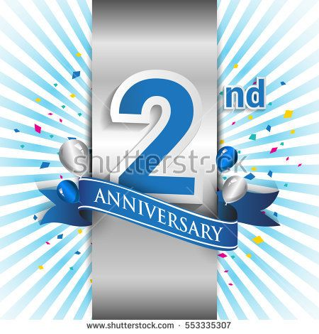 2nd anniversary logo with silver label and blue ribbon, balloons, confetti. two Years birthday Celebration Design for party, and invitation card