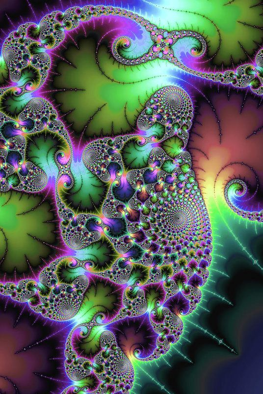 Jewel colored abstract art based on a fractal, fascinating spirals and floral elements. Available as poster, framed fine art print, metal, acrylic or canvas print. Matthias Hauser fractal-art-prints.com - Fractal Art for your Home Decor and Interior Design needs.