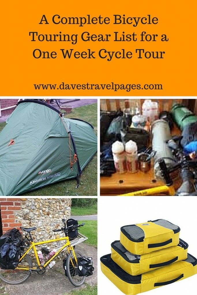 A complete bicycle touring gear list for a one week cycle tour. Here is a comprehensive list of everything you might need when bicycle touring for one week.