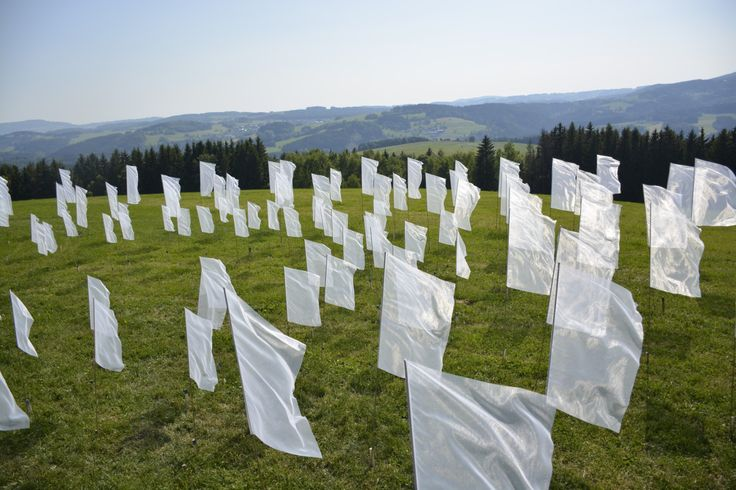 The Way to the Center  - Filip Aura 2015 land art textile instalation, 150 flags,