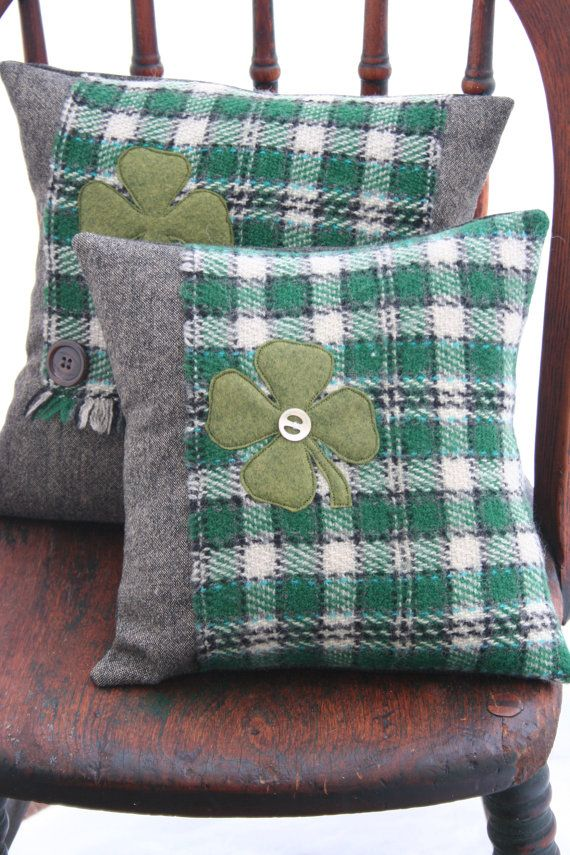 St Patrick's Day Wool PILLOW COVER Lucky Clover Green by EmmaDear