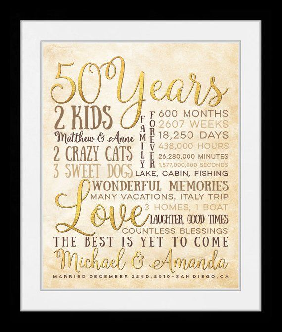 Gold Anniversary 50th Anniversary Gift 50 Years Wedding