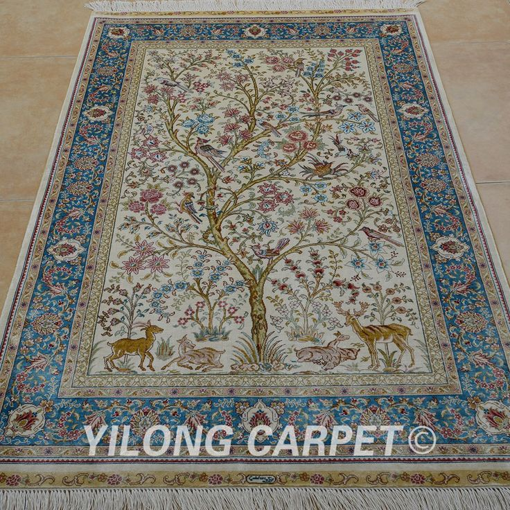 Yilong Tabriz Silk Carpet Tree Of Life Tapestry Handmade Exquisite Traditional Turkish Rugs