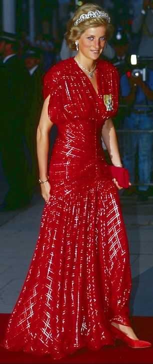 Red chiffon dress embroidered in a tartan design in silver Lamé. Designer :   Bruce Oldfield